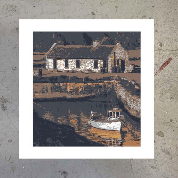 ballintoy harbour northern ireland screen print