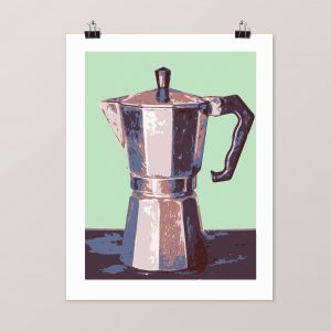6 layer silk screen print of a moka coffee pot